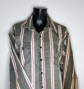 Vintage Wrangler Mens Western Shirt Size 17.5/36